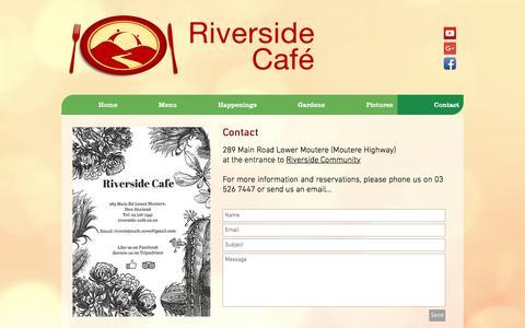 Screenshot of Contact Page riverside-cafe.co.nz - Riverside Café Restaurant | Contact Us | 03 526 7447 - captured April 11, 2017