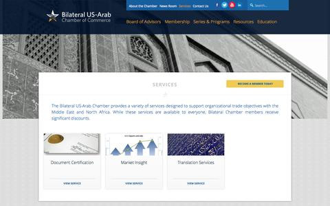 Screenshot of Services Page bilateralchamber.org - Services - Bilateral US-Arab Chamber of Commerce - captured Oct. 5, 2014