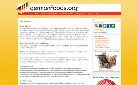 Screenshot of Services Page germanfoods.org - Our Services - Germanfoods.orgGermanfoods.org - captured Oct. 1, 2014