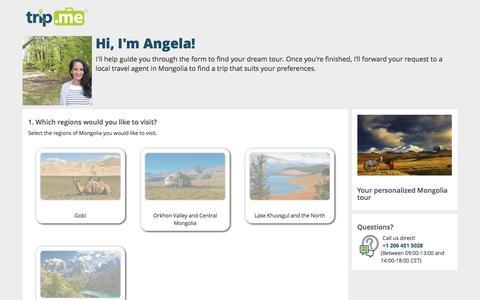 Screenshot of Landing Page trip.me - Request: Mongolia Tour   trip.me - captured Aug. 18, 2016