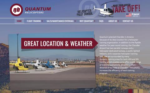 Screenshot of Home Page quantumhelicopters.com - Helicopter Pilot School & Training | Quantum Helicopters - captured July 22, 2018