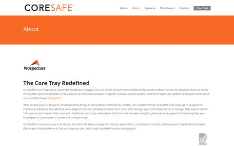 Screenshot of About Page coresafecoretrays.com - About - Core Safe Core Trays - captured Nov. 12, 2016