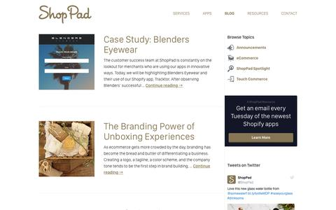 Screenshot of Blog theshoppad.com - Commerce 2.0 by ShopPad   eCommerce news and tips for savvy retailers - captured Aug. 22, 2016