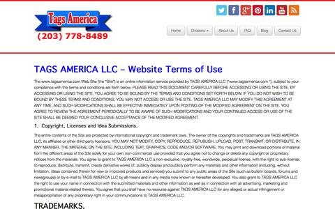 Screenshot of Terms Page tagsamerica.com - Terms of Use | Tags America - captured Oct. 27, 2014