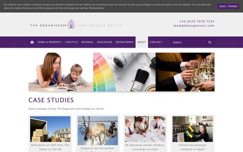 Screenshot of Case Studies Page theorganisers.com - Personal assistant & concierge services - what we do at The Organisers® - captured Sept. 21, 2018