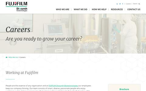 Screenshot of Jobs Page fujifilmdiosynth.com - Career Opportunities | FUJIFILM Diosynth Biotechnologies - captured March 20, 2018
