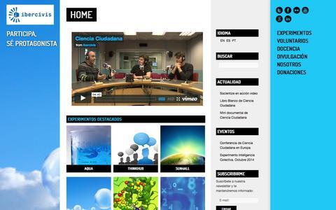 Screenshot of Home Page ibercivis.es - Ibercivis: Ciencia Ciudadana y Computacion Voluntaria - captured Sept. 24, 2014