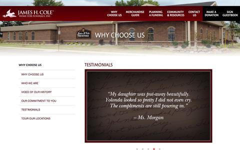 Screenshot of Testimonials Page jameshcole.com - James H. Cole Home for Funerals, Inc. | Testimonials - captured Nov. 26, 2016