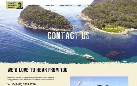 Screenshot of Contact Page pennicottjourneys.com.au - Contact Us - Pennicott Wilderness Journeys - captured Nov. 1, 2014
