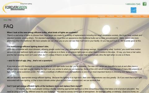 Screenshot of FAQ Page fgillumination.com - FAQ | FGIllumination - captured Oct. 6, 2014