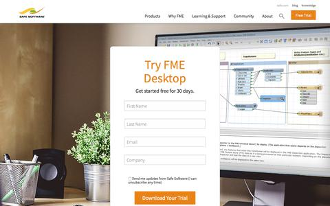 Screenshot of Trial Page safe.com - FME Desktop Trial Download | Safe Software - captured July 28, 2017