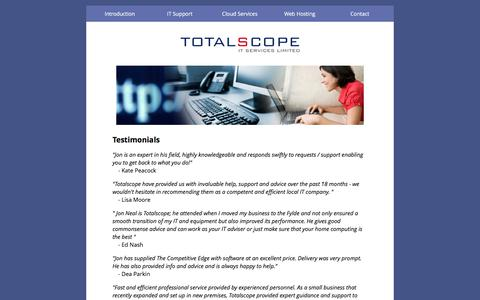 Screenshot of Testimonials Page totalscope.co.uk - Totalscope - IT / Internet Consultant - Jon Neal, Preston, Lancashire - captured Nov. 7, 2017