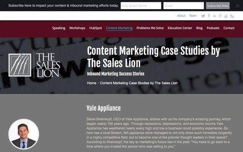 Screenshot of Case Studies Page thesaleslion.com - Content Marketing Case Studies - captured Jan. 13, 2016