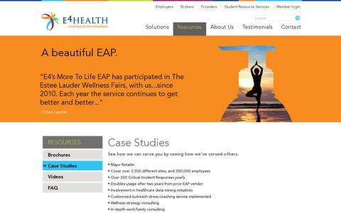 Screenshot of Case Studies Page e4healthinc.com - Case Studies   E4 Health - captured July 19, 2014