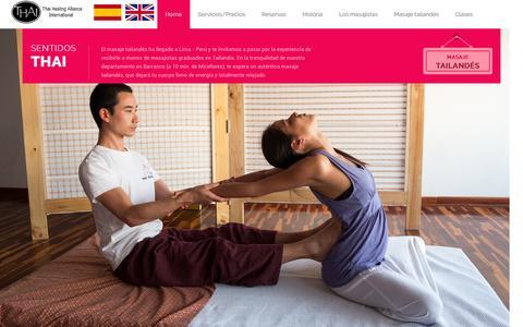Screenshot of Home Page sentidosthai.com - Masaje Tailand�s en Lima � Per� | Sentidos Thai - Masaje tailand�s - captured Jan. 17, 2016