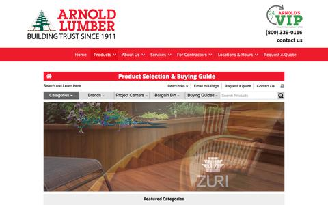 Screenshot of Products Page arnoldlumber.com - Product Guide - Arnold Lumber - captured Oct. 30, 2019