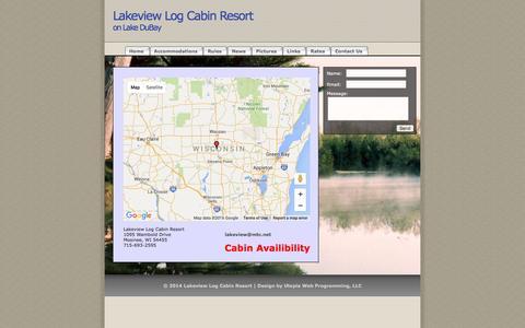 Screenshot of Contact Page lakeviewlogcabin.com - Lakeview Log Cabin Resort - captured June 16, 2016