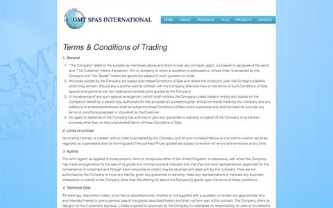 Screenshot of Terms Page gmtspas.com - GMT Spas - The Mosaic Tiled Spa Manufacturer Specialist · Terms and Conditions - captured Oct. 1, 2014
