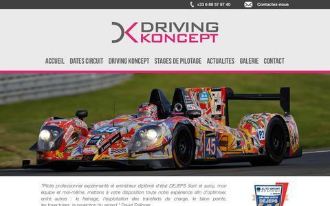 Screenshot of Home Page driving-koncept.com - Driving Koncept - Stage de pilotage - captured Sept. 13, 2015