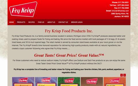 Screenshot of Home Page frykrisp.com - Fry Krisp Food Products Inc. - Fry Krisp - captured Oct. 6, 2014