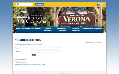 Screenshot of Login Page veronawi.com - Verona Area Chamber of Commerce - captured Oct. 26, 2014