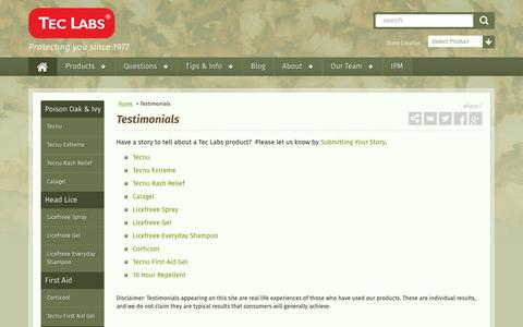 Screenshot of Testimonials Page teclabsinc.com - Testimonials - captured Feb. 14, 2016