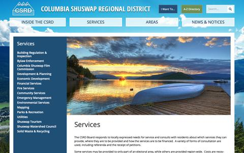 Screenshot of Services Page csrd.bc.ca - Services | Columbia Shuswap Regional District - captured Sept. 29, 2018