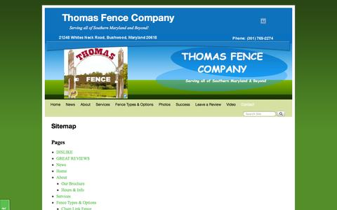 Screenshot of Site Map Page somdfence.com - Sitemap - Thomas Fence Company - captured Oct. 30, 2014