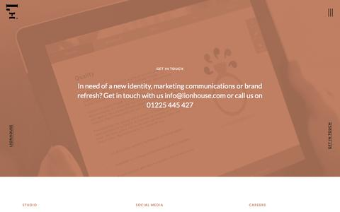 Screenshot of Contact Page lionhouse.com - Lionhouse. Digital brand communications agency Bath. Get in touch. - captured July 6, 2018
