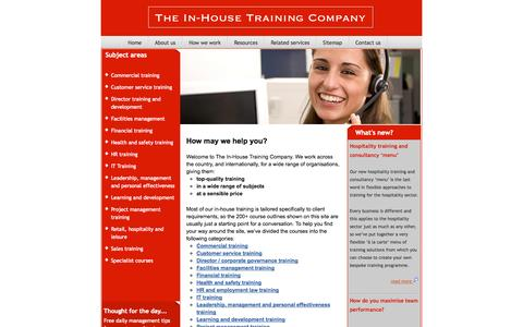 Screenshot of Home Page in-house-training.com - The In-House Training Company - top quality training. - captured Oct. 6, 2014