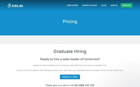 Screenshot of Pricing Page joblab.com - Jamie says… - captured Nov. 14, 2018