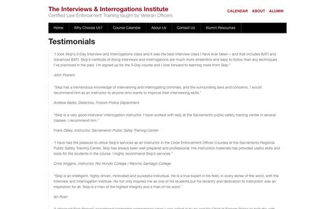 Screenshot of Testimonials Page getconfessions.com - Testimonials - The Interviews & Interrogations Institute - captured Oct. 6, 2014