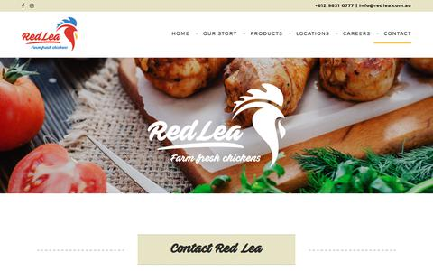 Screenshot of Contact Page redlea.com.au - Contact - Red Lea Chickens - captured Nov. 5, 2017