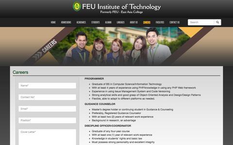 Screenshot of Jobs Page feutech.edu.ph - Careers | FEU - Institute of Technology - captured Nov. 3, 2014