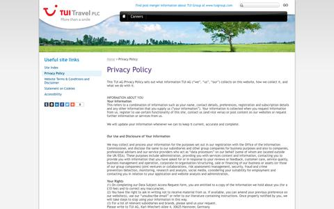 Screenshot of Privacy Page tuitravelplc.com - Privacy Policy | TUI Group - captured Feb. 16, 2016