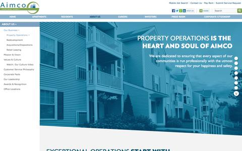 Screenshot of About Page aimco.com - Aimco | About Us | Property Operations - captured Dec. 24, 2015
