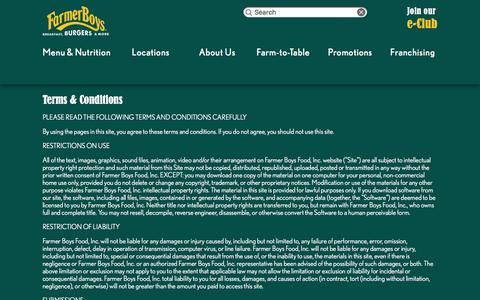 Screenshot of Terms Page farmerboys.com - Terms & Conditions | Farmer Boys - captured Dec. 3, 2015