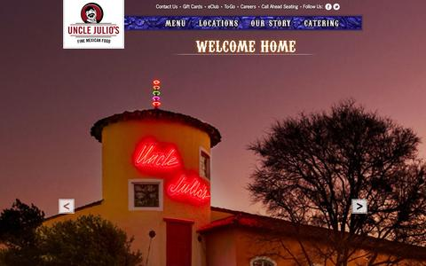 Screenshot of Home Page unclejulios.com - Uncle Julio's Mexican Restaurants - Fine Mexican Food - captured Sept. 23, 2014