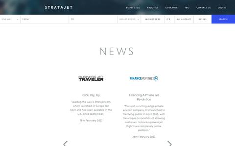 Screenshot of Press Page stratajet.com - Air Charter News | Stratajet in the Media | Stratajet - captured June 14, 2017