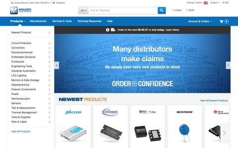 Screenshot of Home Page mouser.com - Mouser Electronics  - Electronic Components Distributor - captured June 11, 2019