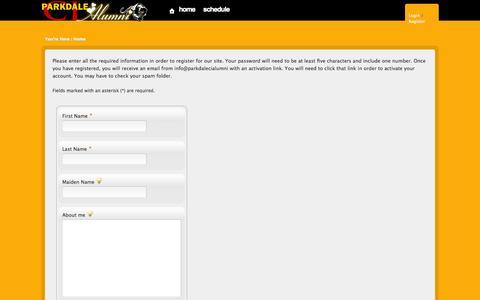 Screenshot of Signup Page parkdalecialumni.com - Parkdale Collegiate Alumni Association - captured Oct. 27, 2014