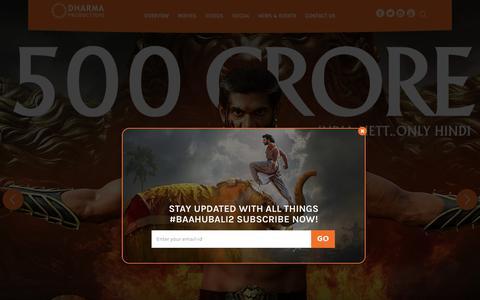 Screenshot of Home Page dharma-production.com - Dharma Productions | Home - captured July 15, 2017