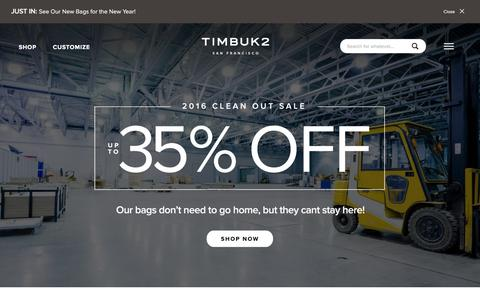Screenshot of Home Page timbuk2.com - Custom Messenger Bags | Laptop Messenger Bags Backpacks - Timbuk2 Bags - captured Jan. 12, 2016