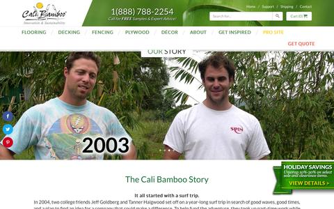Screenshot of About Page calibamboo.com - Our Story - CaliBamboo GreenShoots - captured Dec. 2, 2015