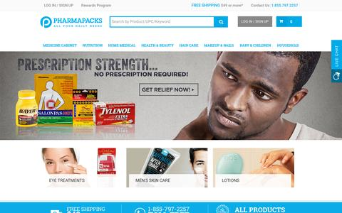 Screenshot of Home Page pharmapacks.com - Pharmapacks - Health & Beauty Marketplace - captured Dec. 2, 2015