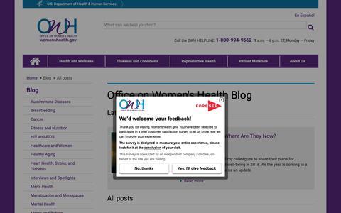 Screenshot of Blog womenshealth.gov - All posts | womenshealth.gov - captured Dec. 11, 2018