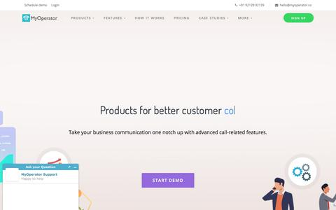 Screenshot of Products Page myoperator.co - MyOperator: Business Call Management System on Cloud - captured Nov. 16, 2019