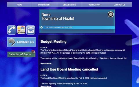 Screenshot of Press Page hazlettwp.org - News - captured Jan. 27, 2016