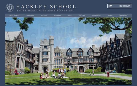 Screenshot of Home Page hackleyschool.org - Hackley School, a private college preparatory school in Tarrytown, NY. | Hackley School, an independent college preparatory school in Tarrytown, NY. - captured Oct. 1, 2014
