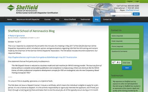 Screenshot of Blog sheffield.com - Blog - Sheffield School of Aeronautics - captured Oct. 26, 2017